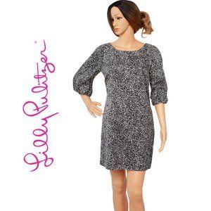 Lilly Pulitzer B&W Rose Print Silk Mini Dress